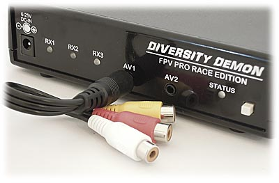 Dual AV Jacks for Monitor, Goggles, and/or DVR.