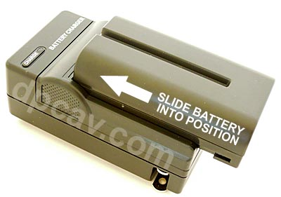 To charge, slide Battery (not included) into charger.