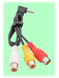 Audio-Video Cable for RC306 Receiver & Black Pearl Monitor (Right Angle)