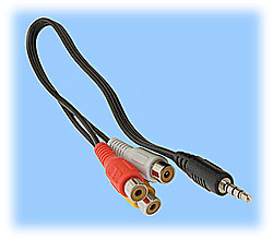A/V Cord, RCA Plugs (3) to A/V 4-Pin 3.5mm Plug (10-inch)