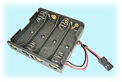 4-Cell AA-size Battery Holder with Plug, Flat Style