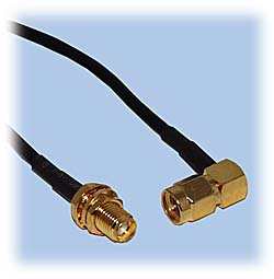 SMA Extension Cable, RG-174 Coax, Right Angle Plug