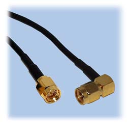 SMA Patch Cable, RG-174 Coax, Right Angle Plug
