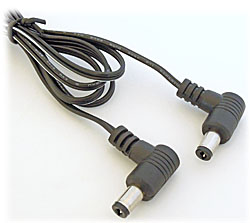 DC Power Patch Cord, Right Angle (2.1mm Barrel Plugs)