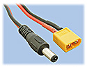 Power Cord, 2.1mm Barrel Plug to XT60 Male (10-inches Long)
